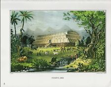 "1972 Vintage Currier & Ives BIBLE ""NOAH'S ARK"" ANIMALS COLOR Print Lithograph"