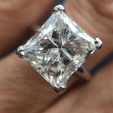 14K White Gold Princess Cut 5.00 Ct Diamond Solitaire Wedding Ring Size N M J K
