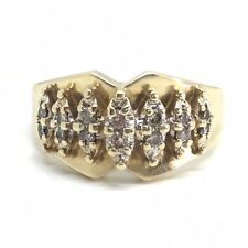 Unique Vintage C.1980's Wide Diamond Marquise Style 10k Yellow Gold Ring Size N