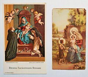 Antique Italian Prayer Cards - Regina Sacratissimi Rosarii - Printed in Italy