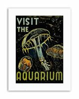 VISIT AQUARIUM MARINE CREATURES JELLYFISH BUBBLES Poster Picture Exhibition