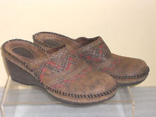 Clarks Artisan Clogs Mules Western Style Slip-on Distressed Leather Slides 8M