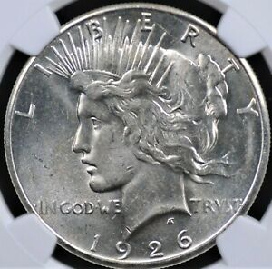 1926 S PEACE DOLLAR NGC MS 61 FLASHY FROSTY WHITE WITH STRONG STRIKE A SMALL