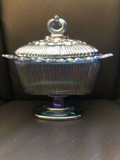 Vintage Iridescent Carnival Glass Candy Dish