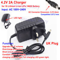 UK Plug 4.2V 2A AC to DC Charger Adapter for 1S Lithium Liion LiPo 18650 Battery