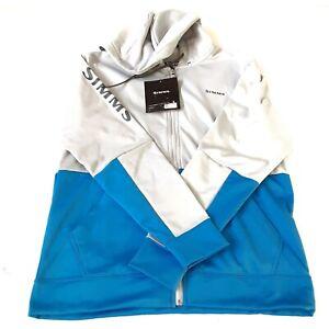 Simms Mens Challenger Hoody Medium Full Zip Sterling Gray Blue New