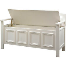Entryway Storage Bench Lift Up Top Seat Wood Hallway Mudroom Furniture White