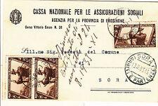 REGNO-Tre 10c DECENNALE(326)-Cartolina CASSA ASS. SOCIALI Forsinone- Sora 1933