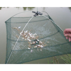Folded Fishing Net Small Fish Shrimp Minnow Crab Baits Cast Mesh Cage Trap