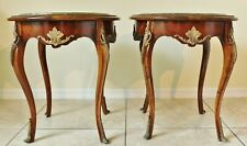 Pair Antique/Vtg French Louis XV Marble Top Wood Brass Ormolu Side End Tables