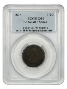1805 Small 5, Stems 1/2c PCGS Good-4 (C-3) Affordable Early Half Cent