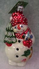 New Slavic Treasures Glass Ornament - Frosty Friends (Red) Snowman 2002
