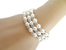 Beautiful Bridal SILVER Pearl And Crystal Wraparound Bracelet Bangle Cuff Prom