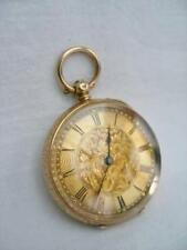 Eccellente Vittoriano 14k SOLID GOLD KEY WIND Donna Swiss Made Orologio da taschino.