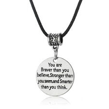Leather Necklace Pendant Charm Jewelry You Are Braver Stronger Smarter Gothic