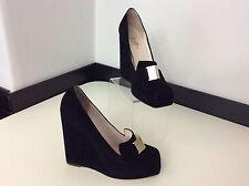 Zapatos De Cuero Emilio Pucci Negro De Gamuza Cuña Tacón Tribunal Talla 37 Reino Unido 4