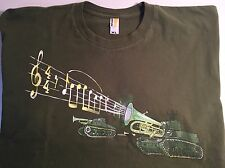 Shirt Woot! XL Army Green Trumpet Tanks Design T-Shirt with Music Notes