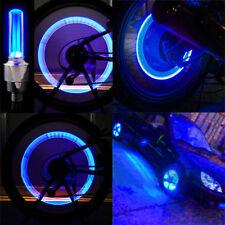 2x Bike Car Motorcycle Wheel Tire Tyre Valve Cap Neon LED Flash Light Lamp Blue