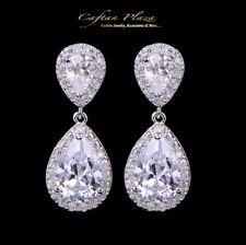 Pendientes Lujo Zirconia AAA Cristales de Swarovski Stellux™ Oro Blanco 18k