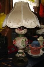 VTG ITALIAN FRENCH COUNTRY VICTORIAN ROMANCE CAPODIMONTE BENROSE 3D FLORAL LAMP