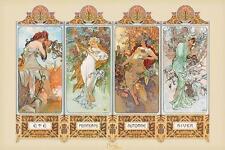 Mucha: 4 stagioni-Maxi poster 91.5 CM x 61 cm Nuovo e Sigillato