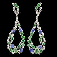 Unheated Oval Green Emerald 6x4mm Tanzanite Cz 925 Sterling Silver Earrings