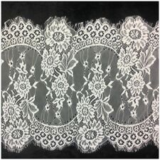 Embroidery Flowers Eyelash Lace Fabric Wedding Dresses Decor Clothes Accessories