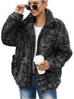 Caracilia Women's Coat Casual Lapel Fleece Fuzzy Faux, Black, Size Small sQsh