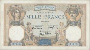 1000 FRANCS CERES ET MERCURE (9.6.1938) Billet de banque français // TTB