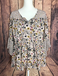 Style & Co Woman 2X Plus 3/4 Sleeve Boho Peasant Pink Yellow Floral Blouse Black