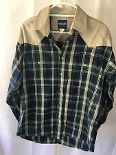 Wrangler Men's Vintage Western Wear Plaid Shirt Pearl Snap Buttons Blue Sz L