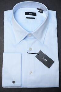 Hugo Boss Mens Lawrence French Cuff Regular Fit Blue Cotton Dress Shirt 17 36/37