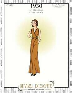 """1930's Beach Or Lounging Pajamas With Jacket Cover Up - 42"""" - 52"""" Bust"""