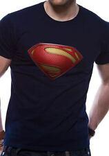 SUPERMAN Uomo D'Acciaio con trama logo simbolo T-shirt con licenza Top Nero M