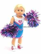 Cheerleader Dress + Pom-Poms+Hair Tie 18 in Doll Clothes Fit American Girl Doll
