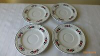 Vintage Yu Quan Replacement Saucers Floral Design Red Blue Set of 4