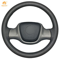 Mewant DIY Black Leather Steering Wheel Cover for Smart Fortwo #0211