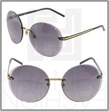 477ef15c4a910 GUCCI Round GG4247S Grey Black Gold Sunglasses DZ0EU 4247 Rimless Metal  Women