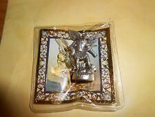 "Saint. Michael  -  1 1/2"" x 1""  Silver Tone Metal Pocket Statue with case"