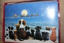 Christmas Greetings Cards 18 Boxed Set - DOGS & CATS Looking up at Santa - New