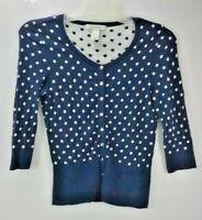 White House Black Market Women's Polka Dot Rhinestone Snap Cardigan Blue XS