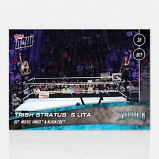 2018 TOPPS NOW WWE #61 TRISH STRATUS AND LITA DEFEAT MICKIE JAMES AND ALICIA FOX
