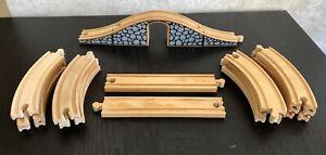 Wooden Track Lot 17 Pieces Including 3 Piece Bridge~Compatible W/ Thomas/Brio +
