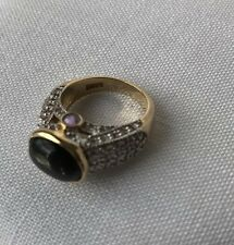 Lia Sophia Elena Kiam Family Ring Two Tone Size 6  Rare Purple Black Tigers Eye