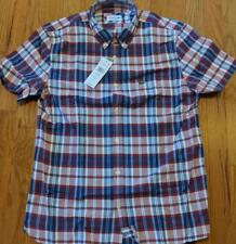 409996fd5 Authentic Lacoste Gingham Checked Button up SS Woven Shirt Red navy 40  Medium