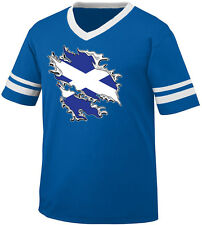 Scottish Flag Colors Scotland Ripped Torn Shirt Soccer Men's V-Neck Ringer Tee