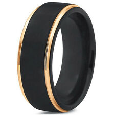 Tungsten Carbide 8mm Men's Black Wedding Band Wedding Ring SR117