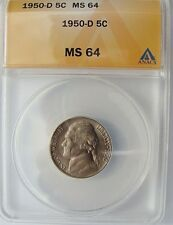 1950 D MS64 JEFFERSON NICKEL, LOW MINTAGE COLLECTOR COIN,  FREE SHIPPING