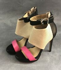 """Juicy Couture Platform 4"""" High Heel Open Toe Pink Strap Size 7"""