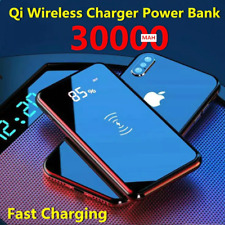 30000mah Power Bank Wireless Charger For iPhone Samsung Built-in Qi Wireless